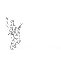 one single line drawing young happy male vector image