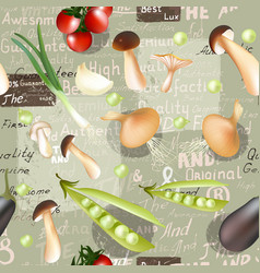 organic vegetables and grunge labelsvintage style vector image