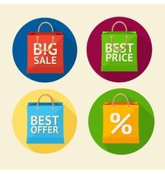 paper bag sale icon set Flat Design vector image