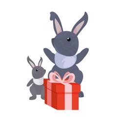 rabbits gift box happy easter vector image