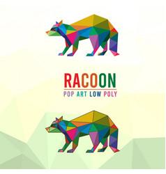 Racoon animal pet pop art low poly line logo icon vector