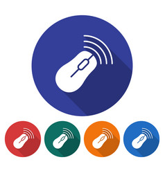 round icon of wireless mouse flat style with long vector image