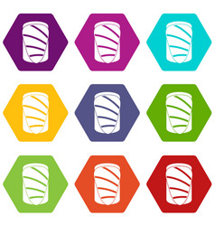 Salmon icon set color hexahedron vector