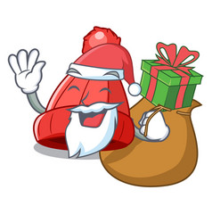 Santa with gift beanie hat isolated on the mascot vector