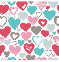 seamless background hand drawn stylized hearts vector image