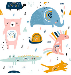 Seamless childish pattern with funny rainbow vector
