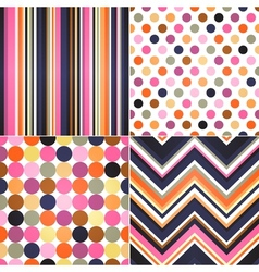 seamless retro stripes zig zag and polka dots bac vector image vector image