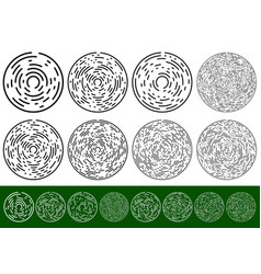 Set concentric circular elements with dashed lines vector