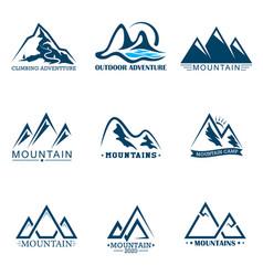 Set mountains logo logo outdoor adventure vector