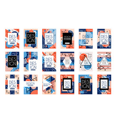 Set of cards with colorful bright abstract vector