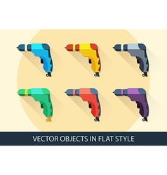 Set of drills in flat style with a long shadow vector image