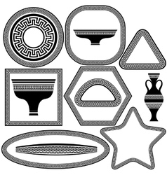 Set of Greek Frames and Dishes vector