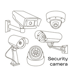 Set of security camera vector