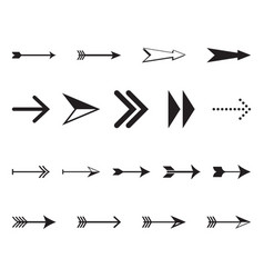 set of simple black arrows vector image