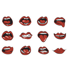set sexy woman lips with different emotions vector image