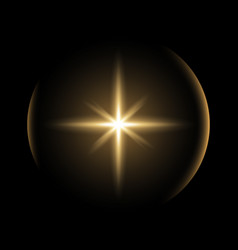 shining star with a glare golden color vector image
