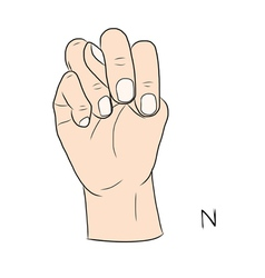 Sign language and the alphabetThe Letter n vector