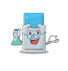 Smart professor key card cartoon character vector