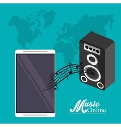 Smartphone and music online design vector image