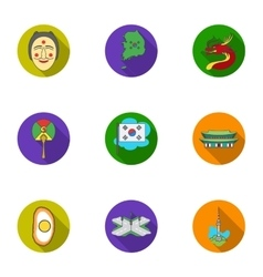 South Korea set icons in flat style Big vector image