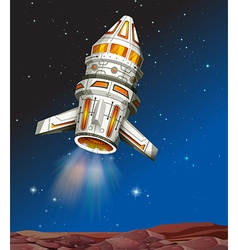 Spaceship flying in the dark space vector