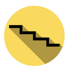 stair down sign flat black icon with flat vector image