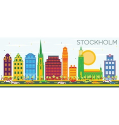 Stockholm Skyline with Color Buildings vector