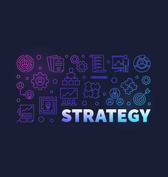 Strategy colored outline banner on dark vector