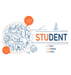Student icons collection design vector