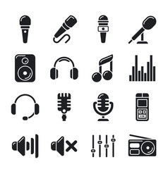 Studio microphones music icons vector