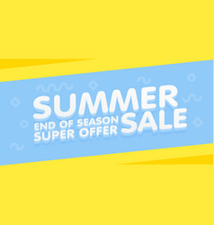 Summer sale yellow and blue banner vector