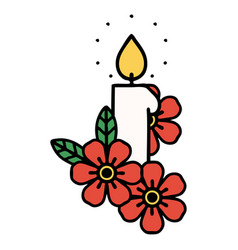 Traditional tattoo a candle and flowers vector