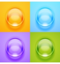 Transparent glass sphere with glares and vector