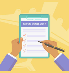 travel insurance policy with hands and clipboard vector image
