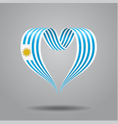 uruguayan flag heart-shaped ribbon vector image