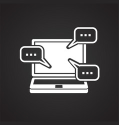Video blogging icon on black background for vector