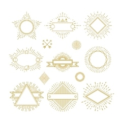 Vintage circle sunburst line emblems badges vector