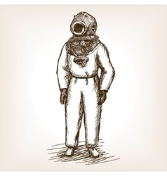 Vintage diver man with diving dress sketch vector