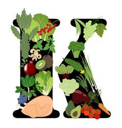 Vitamin k healthy organic nutrition vector