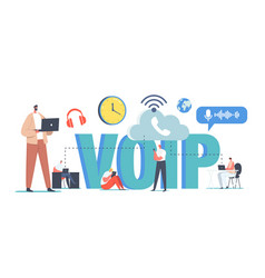 Voip technology voice over ip concept characters vector
