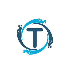 Water clean service abbreviation letter t vector