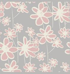 wildflowers hand drawn seamless pattern vector image