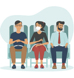 woman inside aircraft wearing protective mask vector image