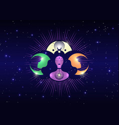 Woman wicca mother earth symbol triple moon logo vector