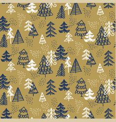 Xmas seamless pattern hand-drawn christmas trees vector