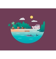 Yacht floats near the tropical shores vector image