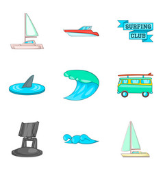 Yachting icons set cartoon style vector
