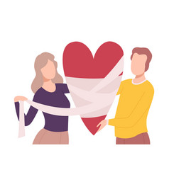 Young man and woman bandaging broken heart people vector