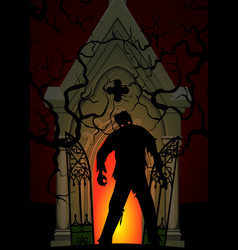 zombie and crypt vector image