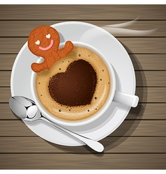 ginger bread soak in cup of hot cappuccino vector image vector image